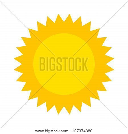 Vector sun icon isolated on white background. Sun Vector isolated, Sun summer icon design. Vector yellow sun symbol. Vector sun sun element. Sun icon on white, vector sun logo isolated. Vector sun