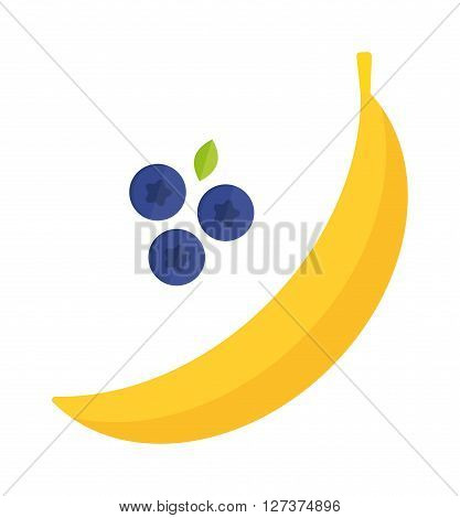 Bunch of tropical bananas isolated on white background yellow healthy diet fruit vector. Banana isolated tropical tasty fruit and yellow banana isolated. Banana and bilberry vitamin appetizing food.