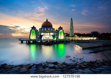 Malacca straits mosque at sunset sky, Malaysia