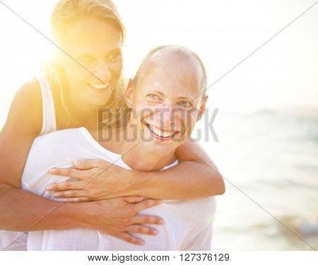 A couples on the beach.