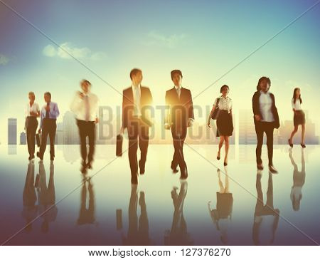 Business People Commuter Walking Traveling Concept