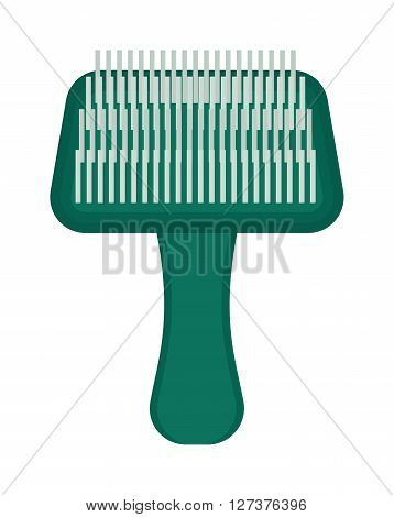 Pet brush grooming animal hair wool comb handle canine hairbrush vector icon. Grooming pet brush and animal pet brush handle. Hairbrush pet brush hygiene equipment, hairstyle puppy accessory.