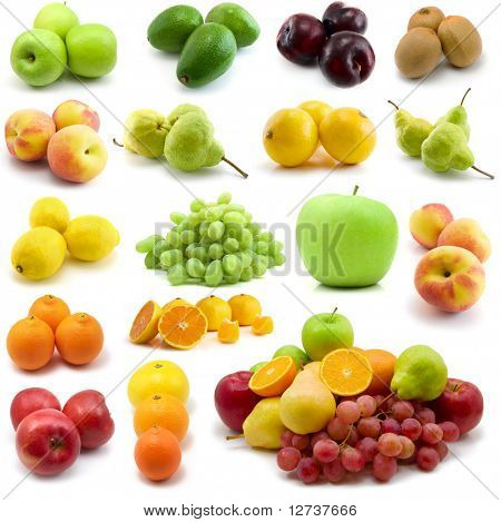 fresh fruits isolated on the white background