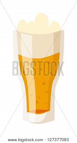 Glass of fresh beer cup with drops and white foam beverage drink lager alcohol pub symbol vector. Beer cup beverage drink and alcohol beer cup. Glass cartoon beer cup transparent foam.