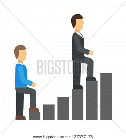 Startup business team working concept men go up the stairs success team people work vector illustration. Business startup concept and team office startup concept. Office meeting startup concept.