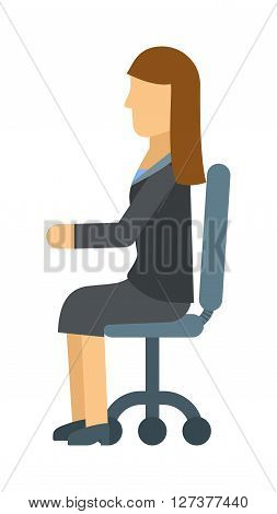 Business woman resting on office armchair, secretary sitting manager professional occupation vector. Woman in chair business, person and office woman in chair. Woman in chair professional occupation.