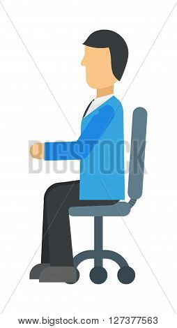 Happy young business man work in modern office on chair vector illustration. Professional man in office and sitting man in office. Man in office chair sitting, looking success. Manager communication.
