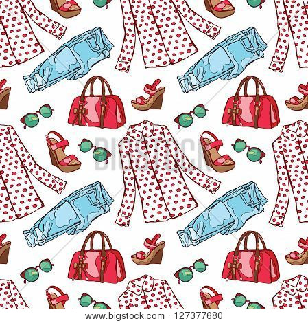 Women's summer clothing: shirt, jeans, sandals, handbags, sunglasses. Vector seamless pattern (background).