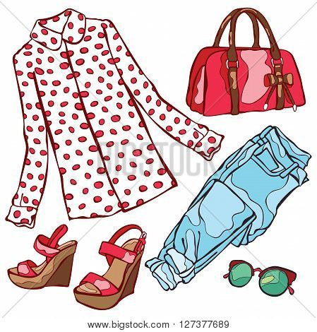 Women's summer clothing: shirt, jeans, sandals, handbags, sunglasses. Isolated vector objects on white background.