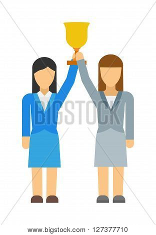 Vector flat icon of feminists women business community. Group of feminists women, business women or politicians with award in hand. Summit or conference family feminists woman power social quality.