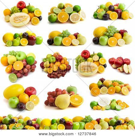 large page of fresh fruits isolated on the white