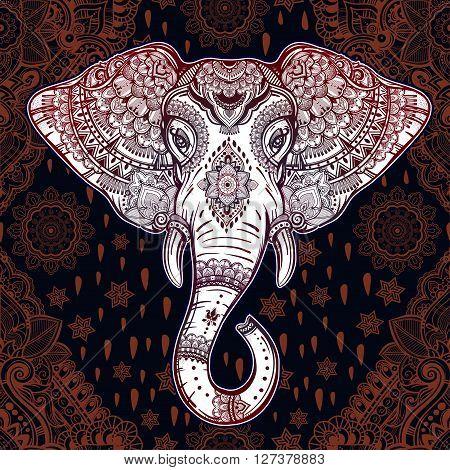 Beautiful Bohemian elephant paisley seamless ornament. Folk seamless pattern. Oriental inspiration. Vintage vector ornamental elephant Indian ethnic seamless pattern with tribal ornaments.