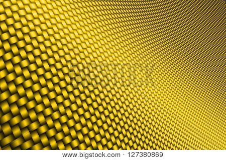 yellow curve carbon fiber on the black shadow. car accessories. background and texture.