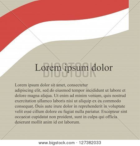 Polish flag background. White, red flag on grey pink background, grey Lorem ipsum, vector