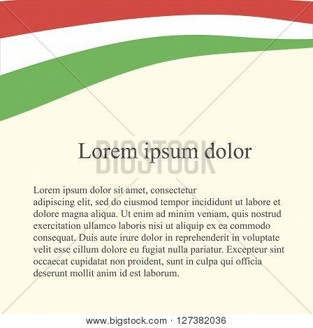 Hungarian flag background. White, green, red flag on light pink background, grey Lorem ipsum, vector