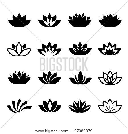 Lotus flower icons set. Vector lotus flowers signs or plant lotus blossom symbols
