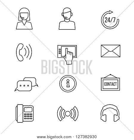 Contact or support vector line icons. Communicate helpline and online support, help operator and communication outline signs