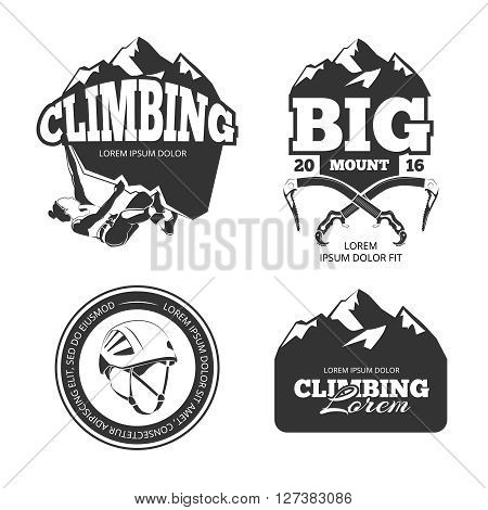 Vintage mountain climbing logo set. Mountain rock climbing labels and climbing sport activity badges vector