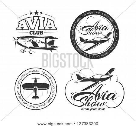 Aviation and airplane vector logo set. Avia club badges,  avia show emblems and avia travel labels vector