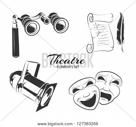Vector elements for theatre logo. Theater labels signs or theater emblems symbols