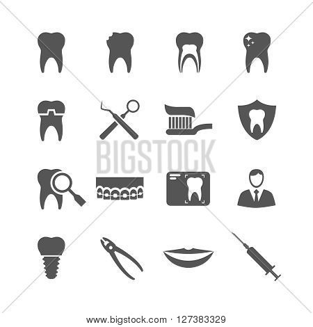 Dental vector icons. Dentist, dental implant, dental hygiene signs