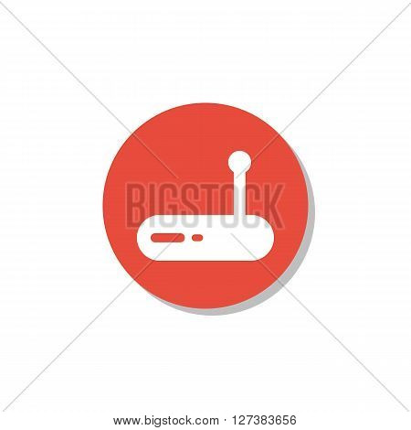Modem Icon In Vector Format. Premium Quality Modem Symbol. Web Graphic Modem Sign On Red Circle Back