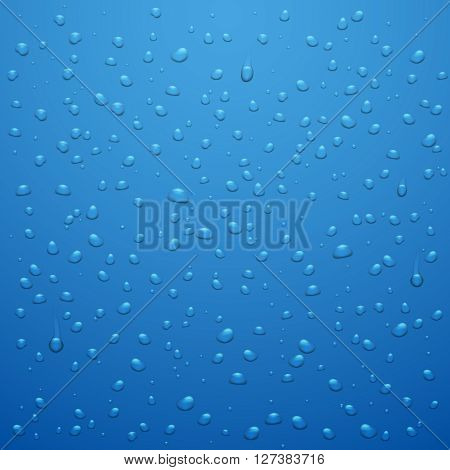 Water drops vector abstract background. Waterdrop or raindrop blue background vector illustration