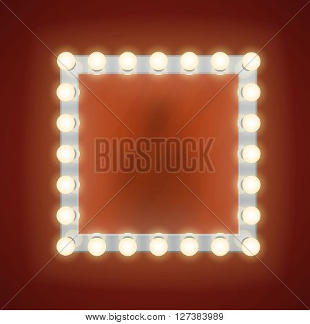 Makeup mirror with electric bulbs.  Vintage mirror frame or retro fashion mirror with bulbs vector illustration