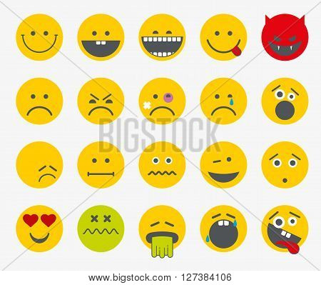 Emoticons, emoji, smiley flat vector icons. Scream and sadness, bored and funny smiley set