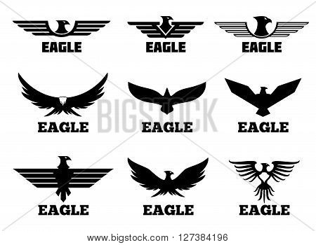 Eagles vector logo set. Black predator eagle for fly eagle tattoo