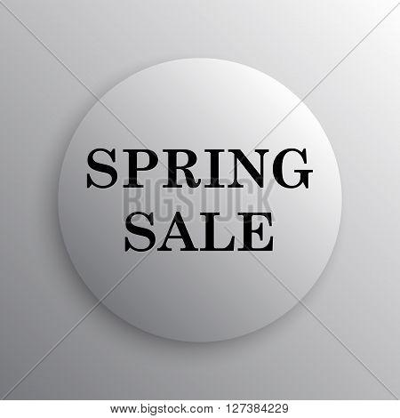Spring sale icon. White internet button on white background.