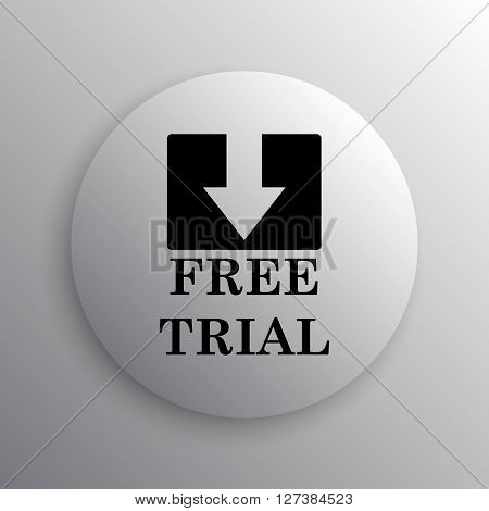 Free trial icon. White internet button on white background.