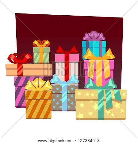 Abstract festive vector background with gift boxes. Xmas gift or christmas festive gift, box gift illustration