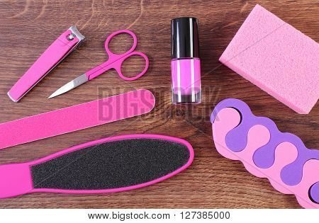 Cosmetics and accessories for manicure or pedicure nail file scraper pumice nail polish scissors nail clippers pedicure separators concept of nail hand and foot care