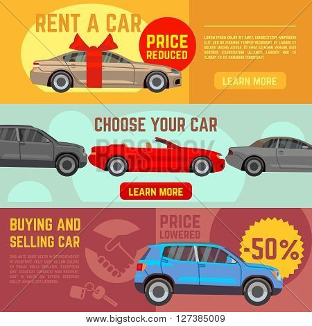 Buying and selling car vector banners set. Car sale, auto sale, automobile sale business illustration