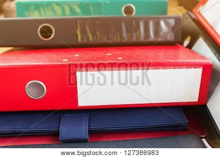 Document File Or Binder Focused At Blank Area For Text At Spinece Pile Up Document File Or Binder Fo