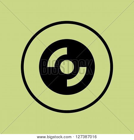 Cd-rom Icon In Vector Format. Premium Quality Cd-rom Symbol. Web Graphic Cd-rom Sign On Green Circle