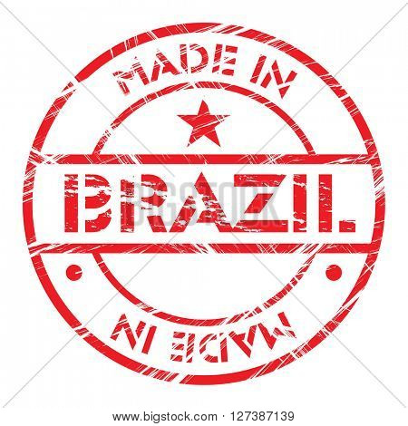 Made in Brazil grunge rubber stamp