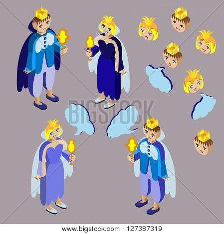King, queen, heads with different facial expressions and speech bubble. Isometric icon set.