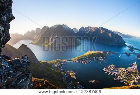 summer aeral view of fishing Reine village Lofoten island Norway