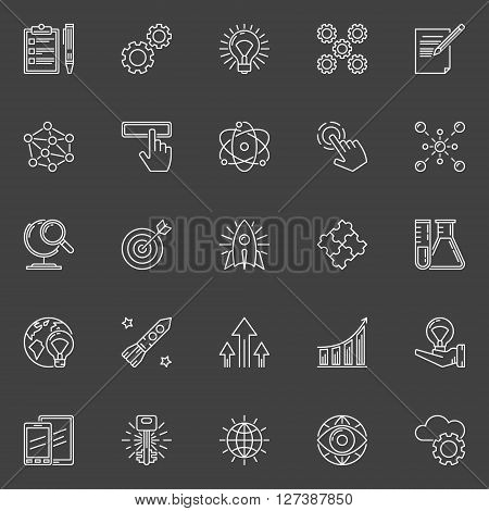 Innovation outline icons - vector collection of technology linear signs or innovation concept symbols on dark background