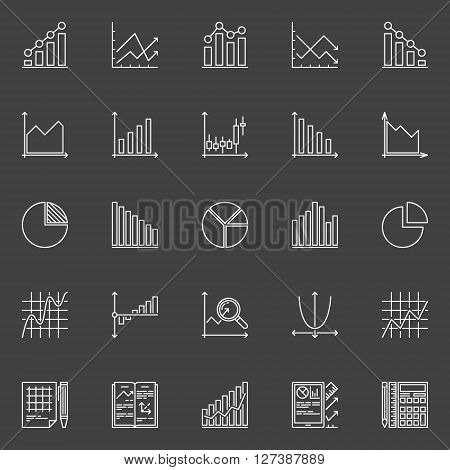 Statistics icons collection - vector business charts, graphs and diagrams linear signs on dark background