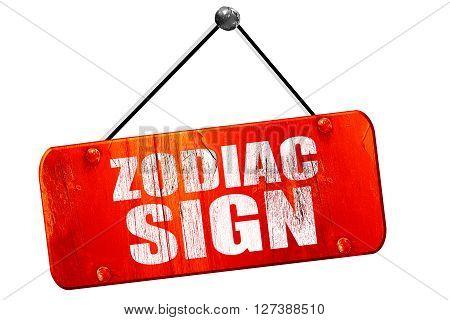 zodiac sign, 3D rendering, red grunge vintage sign