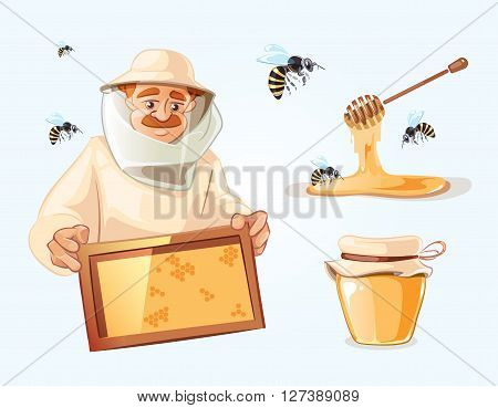 Apiary vector illustrations. Apiary pictures set with bee, honey, honeycomb and Man beekeeper in special costume. Bank with honey.