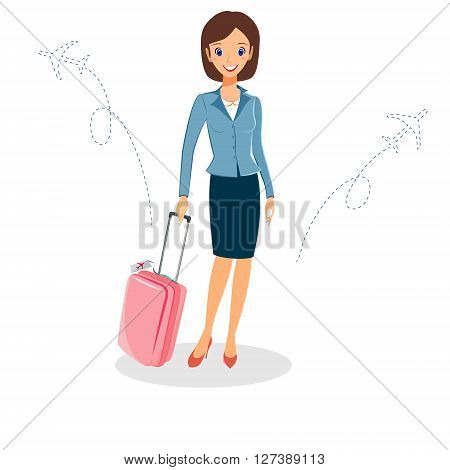 Business woman character vector. Cheerful smiling vector cartoon female character with luggage travelling by plane. Isolated on white background