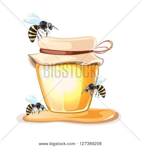 Apiary vector illustrations. Apiary pictures set with bee, honey and Bank with honey isolate on white background