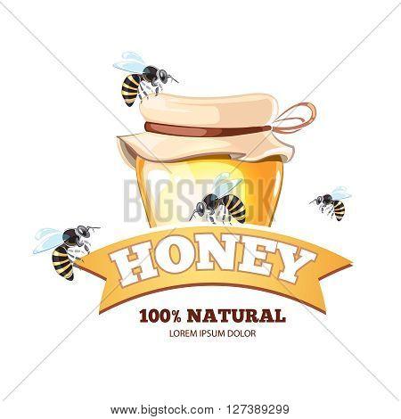 Honey emblem for fresh organic natural premium quality honey. Logotype with honey pot and bees. Emblem isolate on white background
