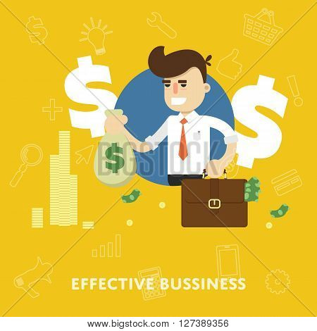 Effective business management concept of profit growth and revenue flat abstract isolated vector illustration