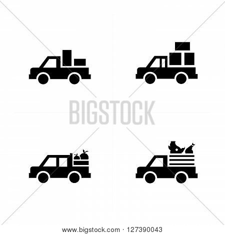 Pickup truck and Transport Icons support vector design eps 10.