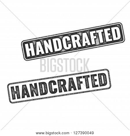 Two realistic vector Handcrafted grunge rubber stamps isolated on white background